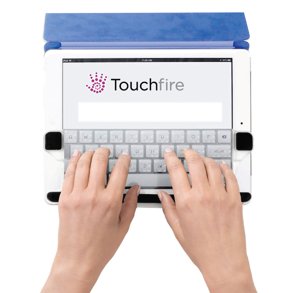 Photo of typing with the Touchfire keyboard