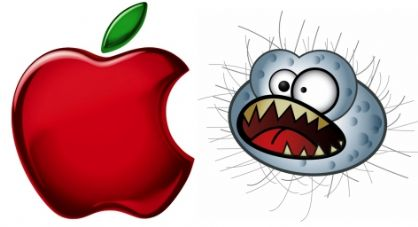 Apple logo with virus monster image